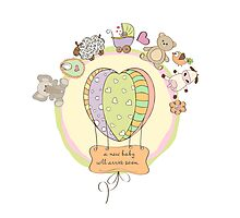 cute baby shower card with animals and toys Photographic Print