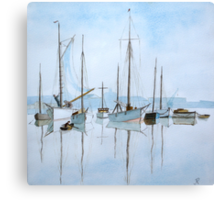 Early Morning Newhaven, (after Roland Hilder)  by John Rees Canvas Print