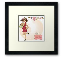 new baby announcement card with pregnant woman Framed Print