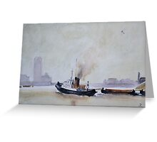 Thames Tug, (after Trevor Chamberlain)   by John Rees Greeting Card