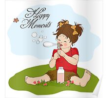 funny lovely little girl blowing soap bubbles Poster