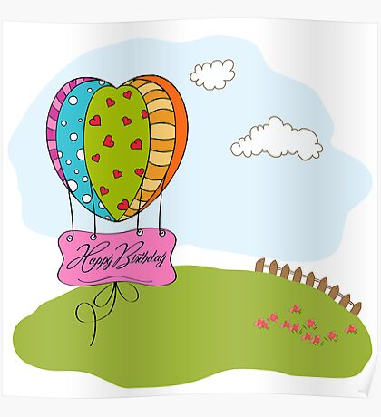 happy birthday card with balloons Poster