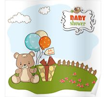baby shower card with cute teddy bear Poster