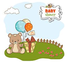 baby shower card with cute teddy bear Photographic Print