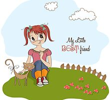 little girl and her cat are best friends by Balasoiu Claudia