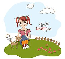 little girl and her cat are best friends Photographic Print