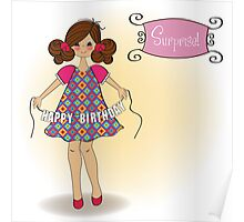 cute little girl wishing you happy birthday Poster