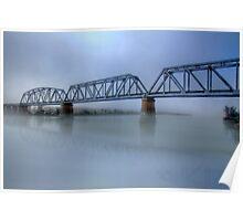 Bridge Under Fog - Murray Bridge, South Australia Poster