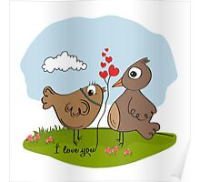 love birds, romantic illustration in vector format Poster