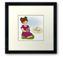 young girl with a bouquet of flowers Framed Print
