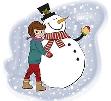 Cute little girl with snowman. Vector illustration by Balasoiu Claudia
