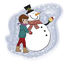 Cute little girl with snowman. Vector illustration Photographic Print
