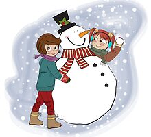 two happy girls building a snowman. Vector illustration by Balasoiu Claudia