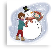 two happy girls building a snowman. Vector illustration Canvas Print