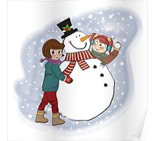two happy girls building a snowman. Vector illustration Poster