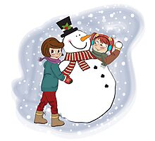 two happy girls building a snowman. Vector illustration Photographic Print