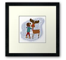Christmas card with cute little girl caress a reindeer. Vector illustration Framed Print
