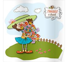 funny girl with a bunch of flowers Poster