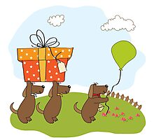 three dogs that offer a big gift. birthday greeting card Photographic Print