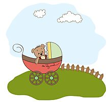 funny teddy bear in stroller, baby announcement card Photographic Print