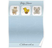 cute baby boy shower card Poster
