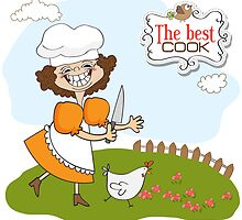 the best cook certificate with funny cook who runs a chicken by Balasoiu Claudia