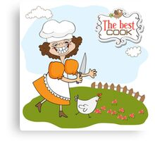 the best cook certificate with funny cook who runs a chicken Canvas Print