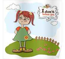 funny young girl amused and distrustful Poster