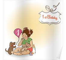 little girl at her first birthday Poster