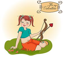 young pretty girl with cupid bow. valentine's day card by Balasoiu Claudia