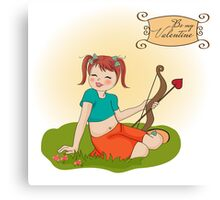 young pretty girl with cupid bow. valentine's day card Canvas Print