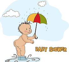 baby boy shower card with funny baby under his umbrella by Balasoiu Claudia