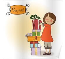 young girl with gift Poster