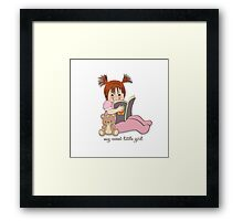sweet little girl reading a book Framed Print