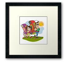 father and daughter tourist traveling with backpacks Framed Print