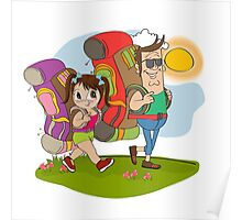 father and daughter tourist traveling with backpacks Poster