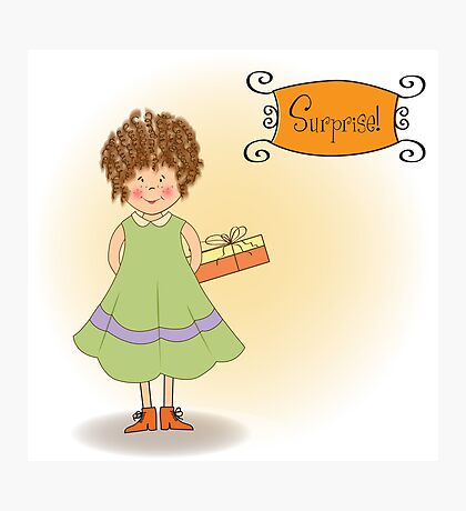 curly young girl she hide a gift Photographic Print