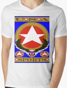 USA Sports Blue template Mens V-Neck T-Shirt