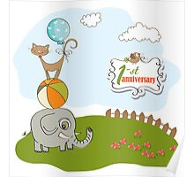 first anniversary card with pyramid of animals Poster