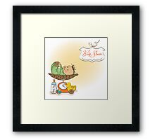 baby boy weighed on the scale, vector illustration Framed Print