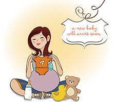 happy pregnant woman, baby shower card by Balasoiu Claudia