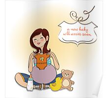 happy pregnant woman, baby shower card Poster