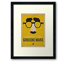"Groucho Marx— ""I'm going to live forever, or die drying."" Equal & Opposite funny glasses poster series. Part 1 of 2.  Framed Print"