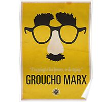 "Groucho Marx— ""I'm going to live forever, or die drying."" Equal & Opposite funny glasses poster series. Part 1 of 2.  Poster"