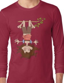 amused young girl standing with her head hanging down Long Sleeve T-Shirt