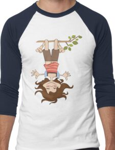 amused young girl standing with her head hanging down Men's Baseball ¾ T-Shirt
