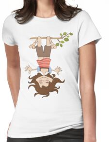 amused young girl standing with her head hanging down Womens Fitted T-Shirt
