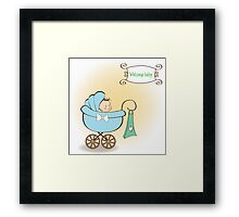 baby boy announcement card with baby and pram Framed Print