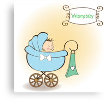 baby boy announcement card with baby and pram Canvas Print