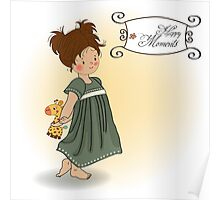 young girl going to bed with her favorite toy, a giraffe Poster